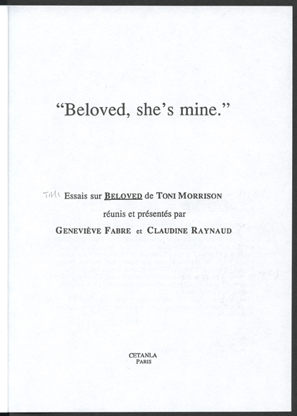 analysis of beloved by tony morrison