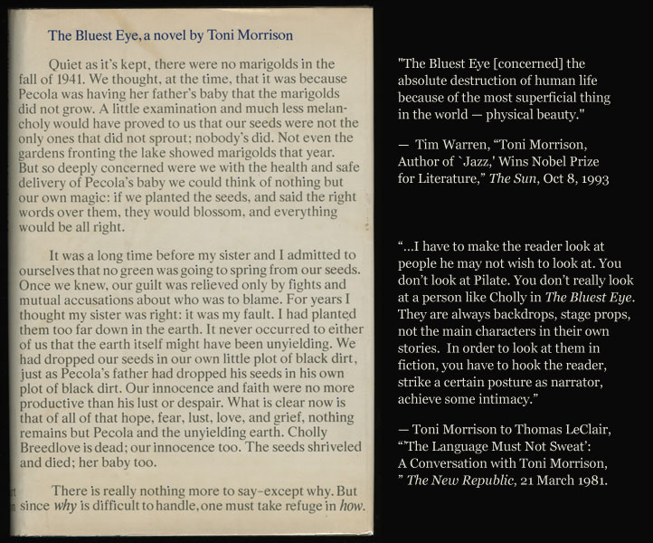 """the bluest eye by toni morrison analysis A young black girl growing up in ohio in the 1940s yearns to see the world through a different set of eyes in toni morrison's first novel, """"the bluest eye,"""" published in 1970."""