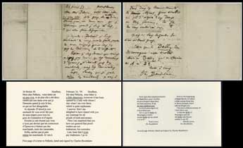 First page of a letter to Pellerin, dated and signed by Charles Baudelaire, February 24, 1959, Vanderbilt University Photographic Archives