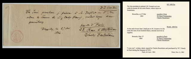 I owe you, written, dated, signed by Charles Baudelaire and purchased by W.T. Bandy in Paris during the Summer of 1952. Paris, Nov. 6, 1981