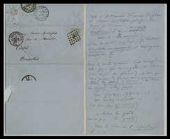 """Pencilled response from Baudelaire to Auguste Poulet-Malassis who was in the process of preparing <em>Les Épaves</em>. The word """"mostiques"""" is to be found in """"À une Malabaraise"""". February 7, 1866."""