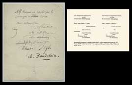 "Baudelaire's signature is among several others' on this updated note found by W.T. Bandy. Cf. W.T. Bandy's article ""Une supplique à Busquet"", <em>Buba</em>, VII, n°2 (9 avril 1972), 24-17."